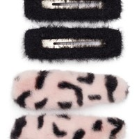 Rainbow Unicorn Birthday Surprise 4-Pack Fuzzy Barrettes | Nordstrom