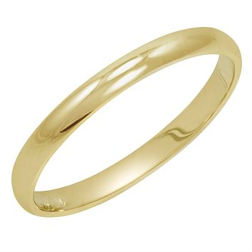 Women's 14K Yellow Gold 2mm Traditional Plain Wedding Band  (Available Ring Sizes 4-8 1/2)