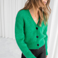 Wool Blend Cardigan - Green - Cardigans - & Other Stories US
