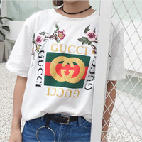 GUCCI rose embroidery fashion short sleeve women tee top T-shirt