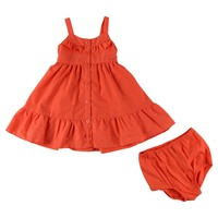 Penny M Baby Girls' Button Down Embroidered Eyelet Sun Dress Set - Coral