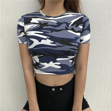 Camo Tees Women Cropped t-shirt Knitted Short Sleeve Dew Navel t-shirt Cotton Summer 2018 Street Wear Camouflage t-shirt Female