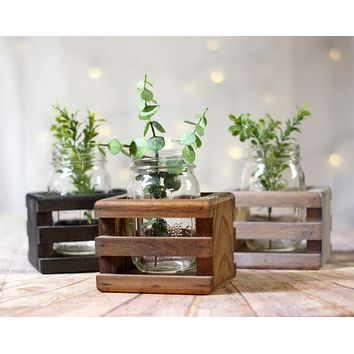 6 Wood Box Centerpieces, Wishing Well Basket