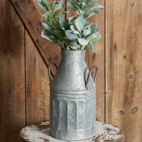 Galvanized Metal Tall Milk Can with Handles - Distressed - Farmhouse Decor