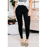 Simple & Sweet Plain Black Leggings