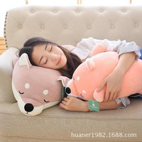 50cm Feather cotton soft Shiba Inu doll lying prone dog plush toys children sleeping pillow doll girl gifts