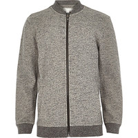 River Island Boys grey zip through jersey bomber jacket