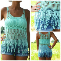 Moon Melody Mint Crochet Tank