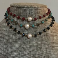 Freshwater Pearl Choker Beaded Rosary Chain Gold and Colored Crystal Turquoise, Indigo Black, & Burgundy Necklace