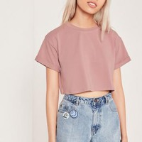 Missguided - Petite Exclusive Pink Roll Sleeve Crop Top