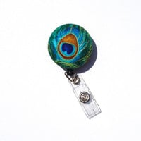 Peacock Feather ID Holder Retractable Badge Reel / Teal Blue Gold /  Fabric Covered Button