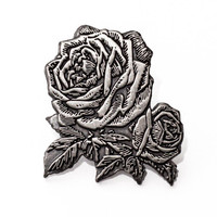 Antique Silver Rose Enamel Pin. Vintage flower lapel pin.