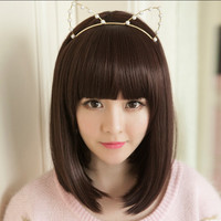 Straight Bob Short Wig Women's Cute Fringe Cosplay Party Hair Heat Resistant Hair Short Wig