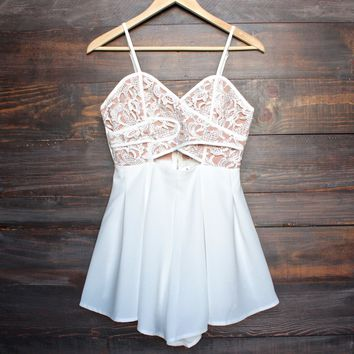 final sale - coco lace front wrap romper in ivory