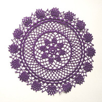 Purple round small crochet lace doily - new handmade, available in cream as well