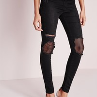 Missguided - Sinner High Waisted Mesh Ripped Skinny Jeans Black