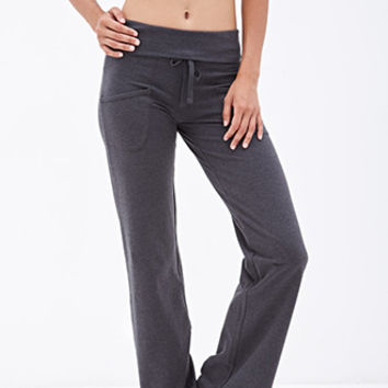 FOREVER 21 Heathered Foldover Sweatpants Charcoal Heather