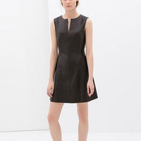 Black Leather V-Neck Sleeveless Dress