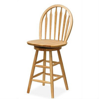 Classic 24-inch Barstool with Swivel Seat in Natural Wood Finish
