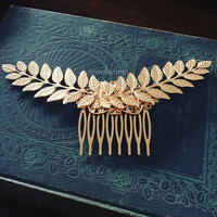 Gold Leaf Hair Comb Bridal Hair Accessories Woodland Wedding Hair Slide for Bride Bridal Hair Comb Rustic Leaves Comb