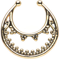 Gold IP Beaded Majesty Non-Pierced Clip On Septum Ring | Body Candy Body Jewelry