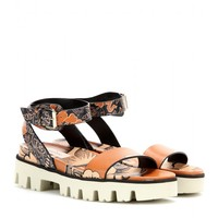 Covered printed leather sandals