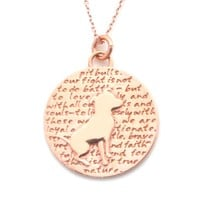 Rose Gold Pitbull (pit bull quote) Sterling Silver Large Pendant Necklace