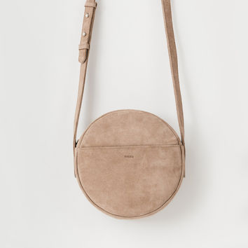 Leather Circle Purse Dune Suede