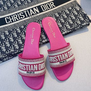 DIOR new letter print outer wear thick heel slippers women's shoes woven embroidered flat slippers Shoes