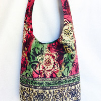 Funky floral hippie sling bag/ bohemian purse made from upcycled fabric/ one of a kind hippie market bag by Boho Rain