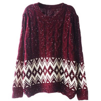 Diamond and Cable Knit Sweater with Vent Hem = 1920014788