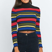 Urban Outfitters Rainbow Striped Black Turtleneck Jumper - Urban Outfitters