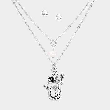 Metal Mermaid Pearl Pendant Double Layer Necklace