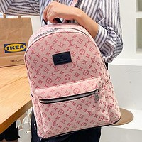 Louis Vuitton LV Canvas Embroidered Letters Women's Shopping Backpack School Bag Daypack