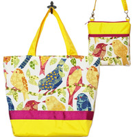 Birds Novelty | Dark Yellow with Dark Pink Ribbon | Tote Set
