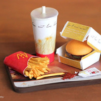 Miniature  Cheeseburger fries and drink all on a tray by AiClay