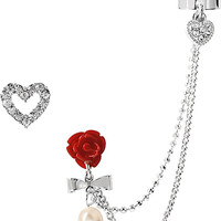 EAR CUFF WITH ROSE AND CHAIN CRYSTAL