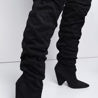 Faux Suede Slouchy Knee High Pointed Toe Chunky Cone Heel Boots in Black