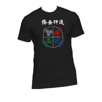 Four Elements, Avatar, Air Bender Ladies or Mens T Shirt,Last Air Bender,Nerd Girl Tees,Geek