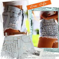 Hollow Rivet Asymmetry Paige Jeans Shorts