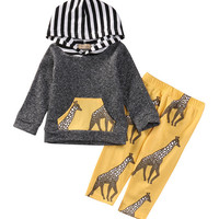 Autumn Spring Newborn Kids Baby Girl Boy Clothes Tops T-shirt+Pants Leggings 2pcs Outfits Clothes Set