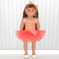 American Girl Doll Clothes Peach Leotard and Tutu Dance Outfit fits 18 inch dolls