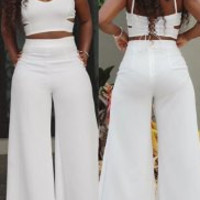 White Cut Out Crop Top with High Waist Pants Twinset