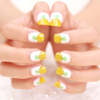 Fruit pineapple false nail set  french false nails Unique Style  fake nails acrylic Bride Full design nail tips Fashion Nail art tool hand makeup 328 (Color: Multicolor)