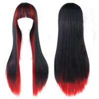 Red & Black Women Hair Long Straight Cosplay Wigs Synthetic Hair Full Lace Wig