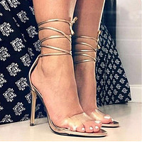Strappy Transparent Women Fashion Peep Toe High Heels Shoes
