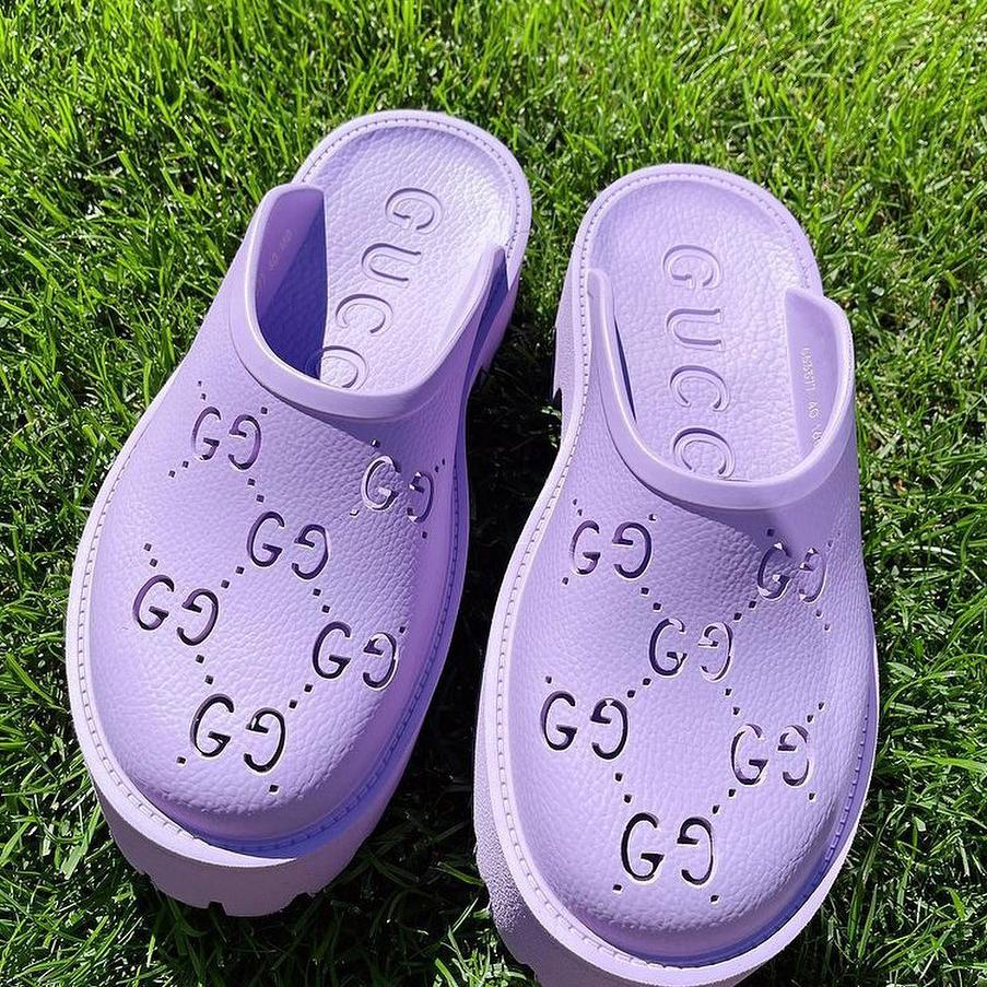 Image of GG Women's Double G Hollow Slippers Shoes / Heel height 5 CM