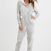 Hooded Snowflake Plush PJ Jumpsuit