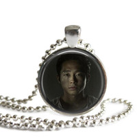 The Walking Dead Glenn Rhee Necklace Handcrafted Silver Plated Pendant Necklace