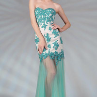 PRIMA C132554 Lace and Sheer Long Prom Dress